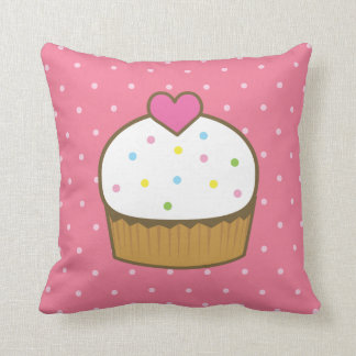 pink cupcake throw pillow