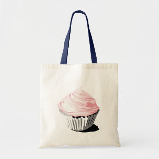 Pink cupcake tote canvas bags