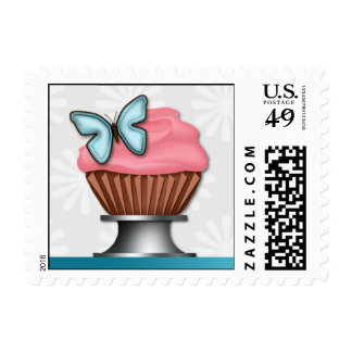 Pink Cupcake Turquoise Butterfly Postage Stamps