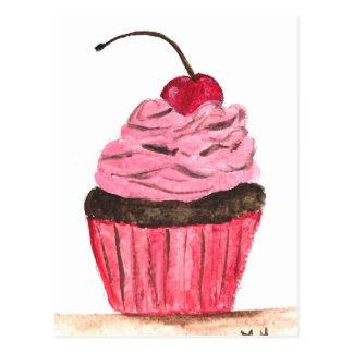 Pink cupcake watercolour painting postcard