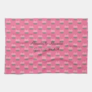 Pink cupcake wedding favors hand towels
