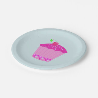Pink Cupcake with a Cherry on Top Paper Plate