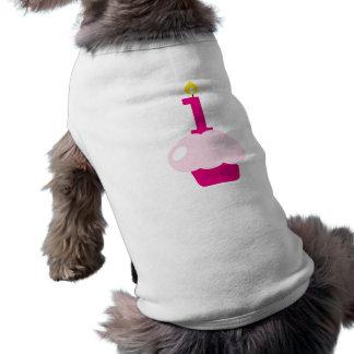 Pink Cupcake with Birthday Candle Pet Tee Shirt