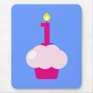 Pink Cupcake with Birthday Candle Mouse Pad