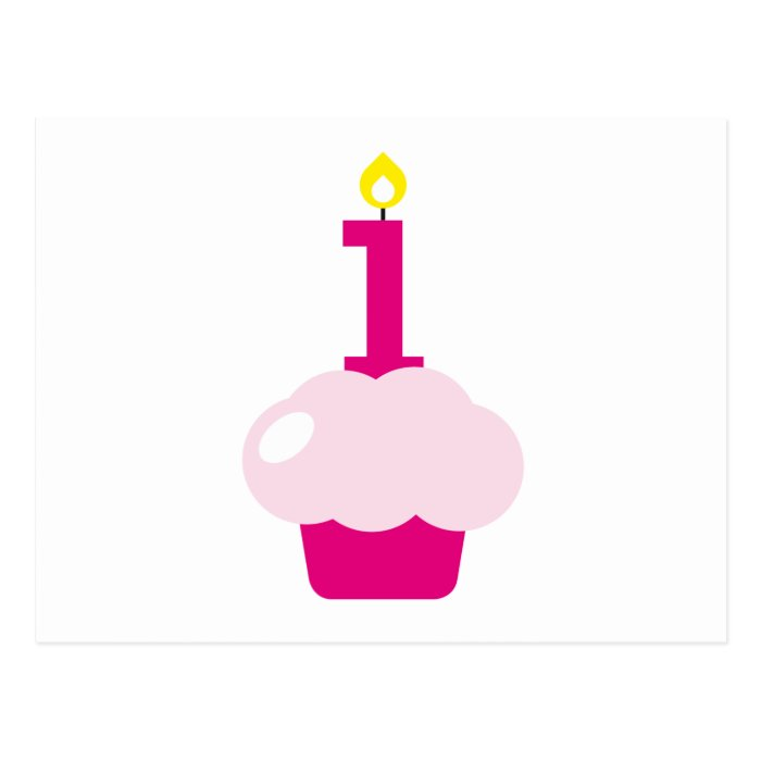 Pink Cupcake with Birthday Candle Postcard