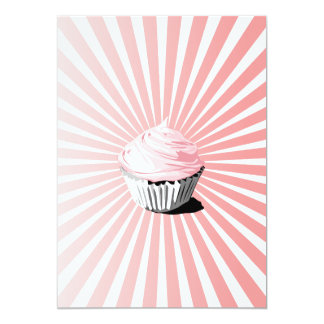 Pink cupcake with blast line pattern 5x7 paper invitation card