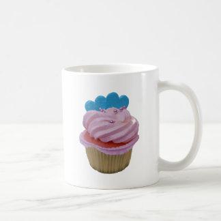 Pink Cupcake with Blue Hearts Coffee Mug
