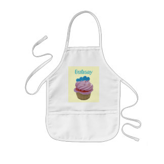 Pink Cupcake with Blue Hearts Kids' Apron