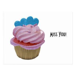 Pink Cupcake with Blue Hearts Postcard