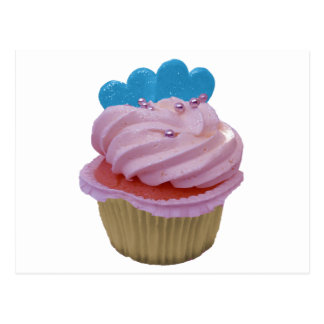 Pink Cupcake with Blue Hearts Post Cards