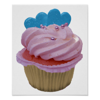 Pink Cupcake with Blue Hearts Poster