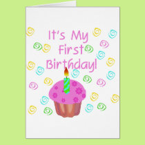 Pink Cupcake With Candle First Birthday Card