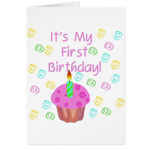Pink Cupcake With Candle First Birthday Greeting Card
