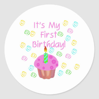 Pink Cupcake With Candle First Birthday Classic Round Sticker