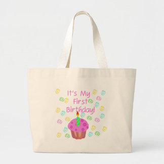 Pink Cupcake With Candle First Birthday Large Tote Bag