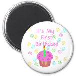 Pink Cupcake With Candle First Birthday Refrigerator Magnet