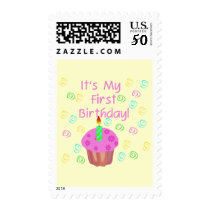 Pink Cupcake With Candle First Birthday Postage