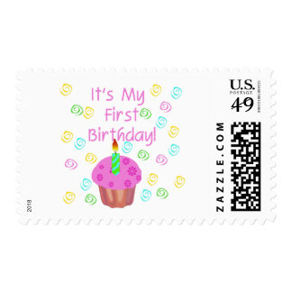 Pink Cupcake With Candle First Birthday Stamps