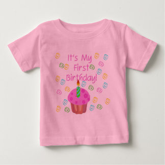 Pink Cupcake With Candle First Birthday T Shirt