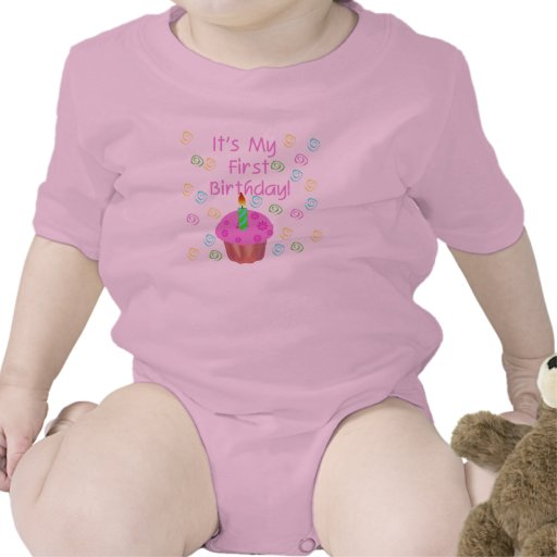 Pink Cupcake With Candle First Birthday Tee Shirt