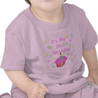 Pink Cupcake With Candle First Birthday T Shirts