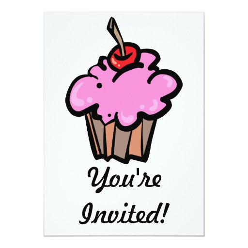 Pink Cupcake with Cherry 5x7 Paper Invitation Card