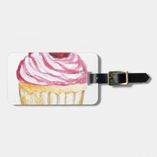 Pink cupcake with cherry bag tag