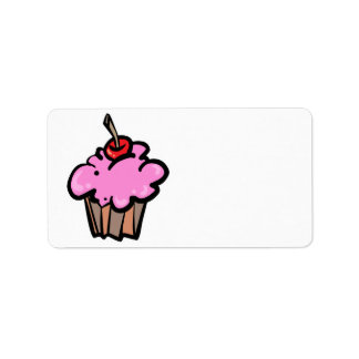 Pink Cupcake with Cherry Label