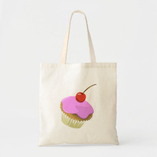 Pink cupcake with cherry tote budget tote bag