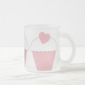 Pink Cupcake with Heart Frosted Glass Coffee Mug