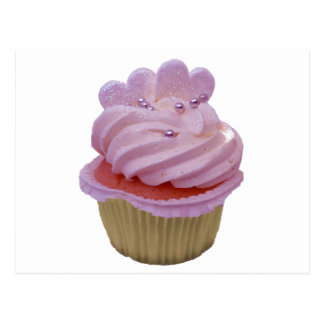Pink Cupcake with Hearts Postcard