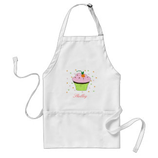 Pink Cupcake with Name Adult Apron
