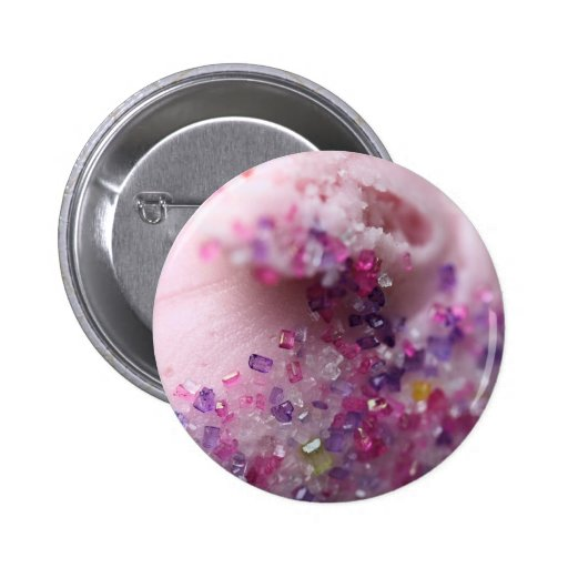 Pink cupcake with pink and purple sugar 2 inch round button