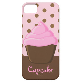 Pink Cupcake with Pink Polka Dots iPhone SE/5/5s Case
