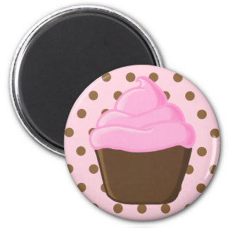 Pink Cupcake with Pink Polka Dots Magnet