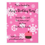 """Pink cupcake with pink snowflakes pattern 4.25"""" x 5.5"""" invitation card"""