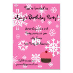 """Pink cupcake with pink snowflakes pattern 5"""" x 7"""" invitation card"""