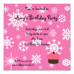 """Pink cupcake with pink snowflakes pattern 5.25"""" square invitation card"""