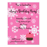"""Pink cupcake with pink snowflakes pattern 6.5"""" x 8.75"""" invitation card"""