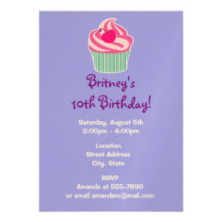 Pink Cupcake WIth Polka Dot Cherry Birthday Card