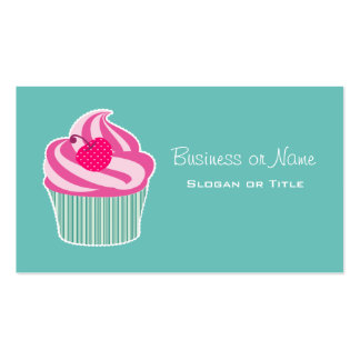 Pink Cupcake WIth Polka Dot Cherry Double-Sided Standard Business Cards (Pack Of 100)