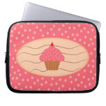 Pink Cupcake with Polka Dots Laptop Sleeve