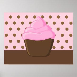 Pink Cupcake with Polka Dots Print
