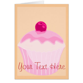 Pink Cupcake With Red Cherry Card