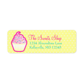 Pink Cupcake with Sprinkles Return Address Labels