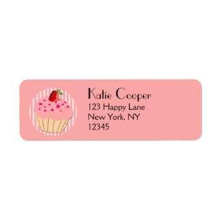 Pink Cupcake with strawberry and sprinkle Label