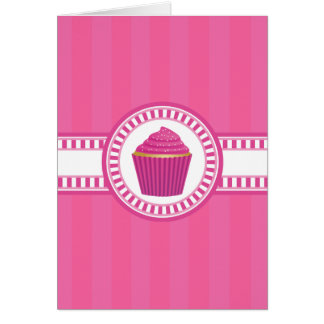 Pink Cupcake with White Sprinkles Card