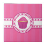 Pink Cupcake with White Sprinkles Small Square Tile