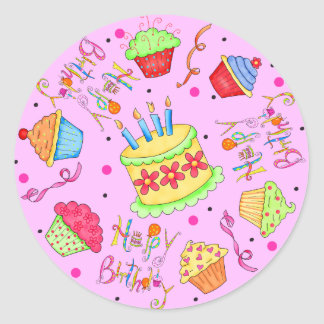 Pink Cupcakes and Cake Happy Birthday Classic Round Sticker