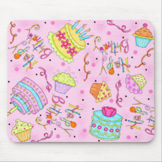 Pink Cupcakes and Cake Happy Birthday Mouse Pad